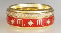 кольцо скорпион с эмалью и бриллиантами