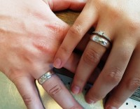 кольцо Мокуме на руке ширина 6 мм