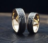 Обручальные кольца из булатной стали и желтого золота