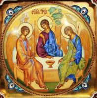 икона серебро эмаль Троица