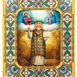 Икона Николая Чудотворца (серебро, перламутр, аметисты)
