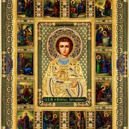 Икона целителя Пантелеймона с ростовской финифтью