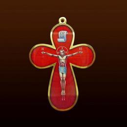 Крест с эмалью и гильошем