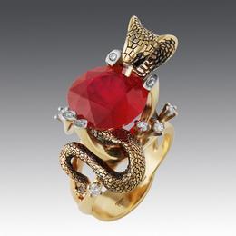 Кольцо Кобра (золото, крупный рубин)