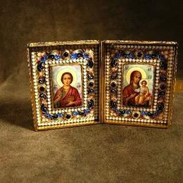 Складень походный  Св. Пантелеймон и Владимирская Богоматерь