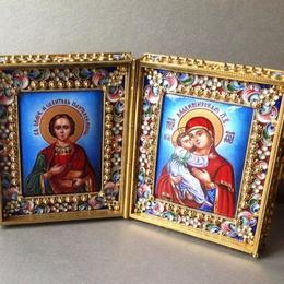 Складень Святой Пантелеймон и Владимирская Богоматерь