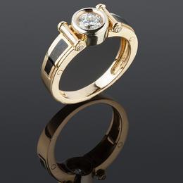 Мужское кольцо с эмалью и бриллиантами
