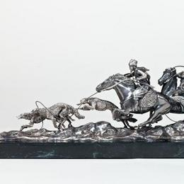 Псовая охота (серебро, мрамор)