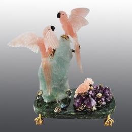 Попугаи из полудрагоценных камней