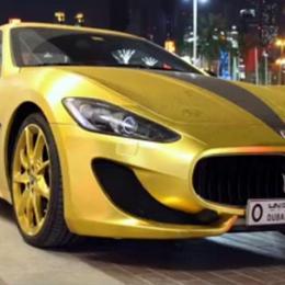 В Дубае был замечен Maserati Granturismo, покрытый золотой пленкой и украшенный Swarovski