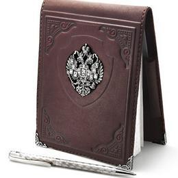 Блокнот и визитница из кожи с серебром