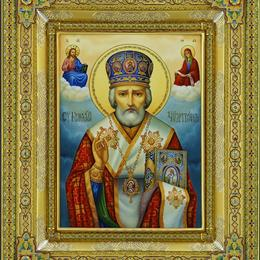 Икона Николая Чудотворца с топазами