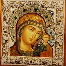 Икона Казанской Матери (шитьё, изумруды, рубины)