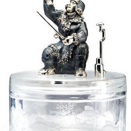 Икорница «Зимний улов» (хрусталь с гравировкой, серебро)
