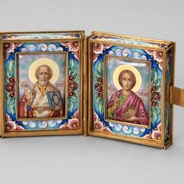 Карманный складень Св. Пантелеймон и Николай