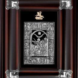 Панно Георгий Победоносец (с серебряными уголками)
