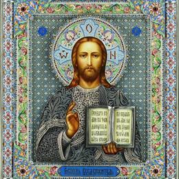 Икона Спаситель с филигранью в серебре