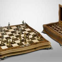 Шахматы «Ореховые» (серебро, мрамор)