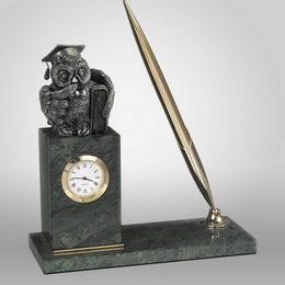 """Письменный прибор с часами """"Совёнок"""""""