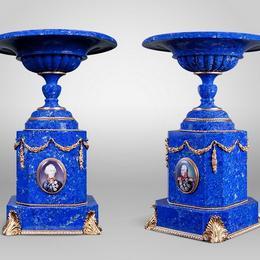 """Парные вазы из лазурита """"Великие полководцы"""""""