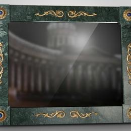 Зеркало из итальянского мрамора и бронзы с позолотой