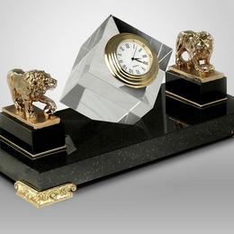 "Настольные часы ""Хрустальные со львами"""