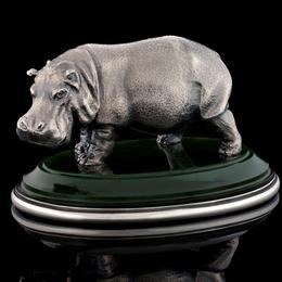 Бегемот из серебра на нефрите - 8 см