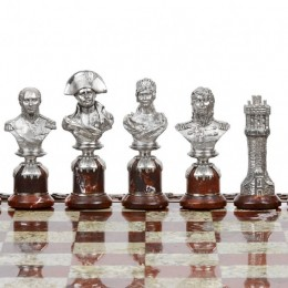 """Шахматы из серебра """"1812"""" портретное сходство"""