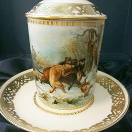 Фарфоровая чайная чашка с блюдцем Охотничья