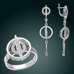 Серьги и кольцо из белого золота
