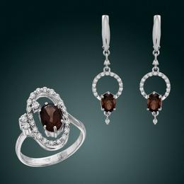 Гарнитур с раухтопазами и бриллиантами