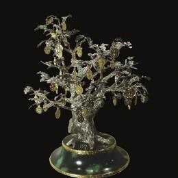 Денежное дерево, серебро и обсидиан