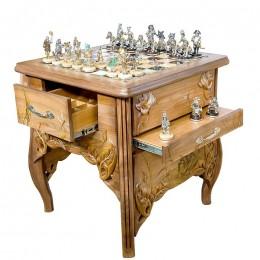 Шахматы «Золотой ключик» (серебро, оникс, яшма)