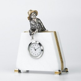 Часы «Пастушок» (мрамор, серебро)