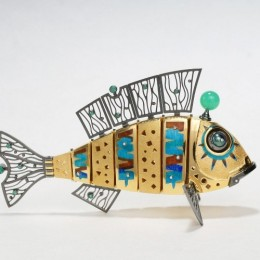 Кинетическая Рыба (серебро, эмаль, hi-tech)