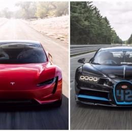 Tesla Roadster против Bugatti Chiron: кто здесь главный?