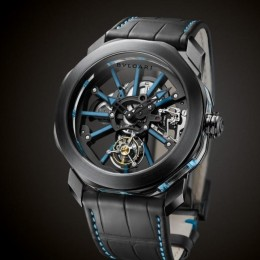 Люминесцентные часы Bulgari Octo Tourbillon Sapphire с синими акцентами