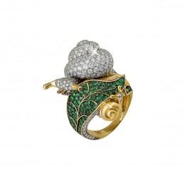 Кольцо Улитка (изумруды, бриллианты 4,5ct)