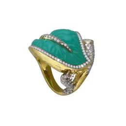 Кольцо «В ожидании чуда» (хризопраз, бриллианты)