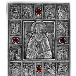 """Малая походная икона """"Святой Сергий Радонежский"""" серебро с гранатами"""