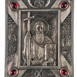 """Малая икона """"Святой Апостол Андрей-Первозванный"""" серебро с гранатами"""