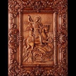 Резная икона из дерева Святой Георгий