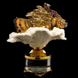 Скульптура Золотая рыбка (серебро, коралл, аметисты, топаз)