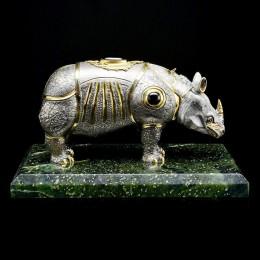 Добрый Носорог (серебро, черное дерево, агат)