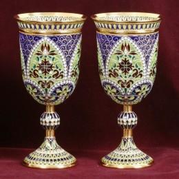 Свадебные бокалы из витражной эмали и серебра
