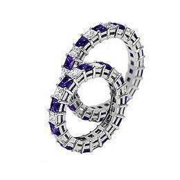 Свадебное кольцо с сапфирами и бриллиантами