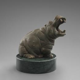 Бегемот с открытой пастью 14 см (бронза)