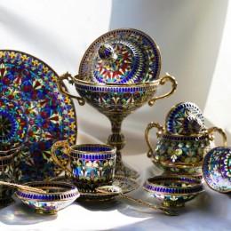 Большой чайный набор из витражной эмали