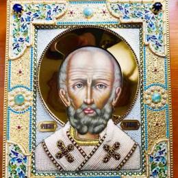 Икона с драг камнями Николай Чудотворец