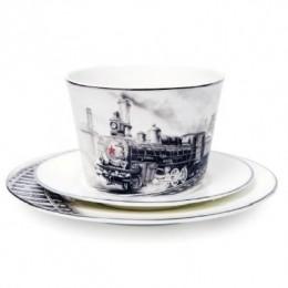 Эксклюзивный чайный набор ручной росписи «Железная дорога»